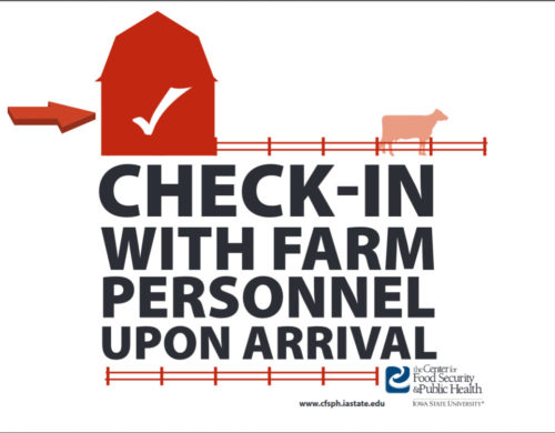 Check in with farm personnel biosecurity sign
