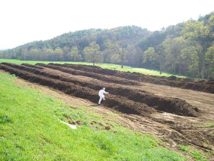 Compost rows on a farm